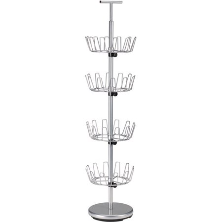 Image of Household Essentials 4-Tier Revolving Shoe Tree, Silver
