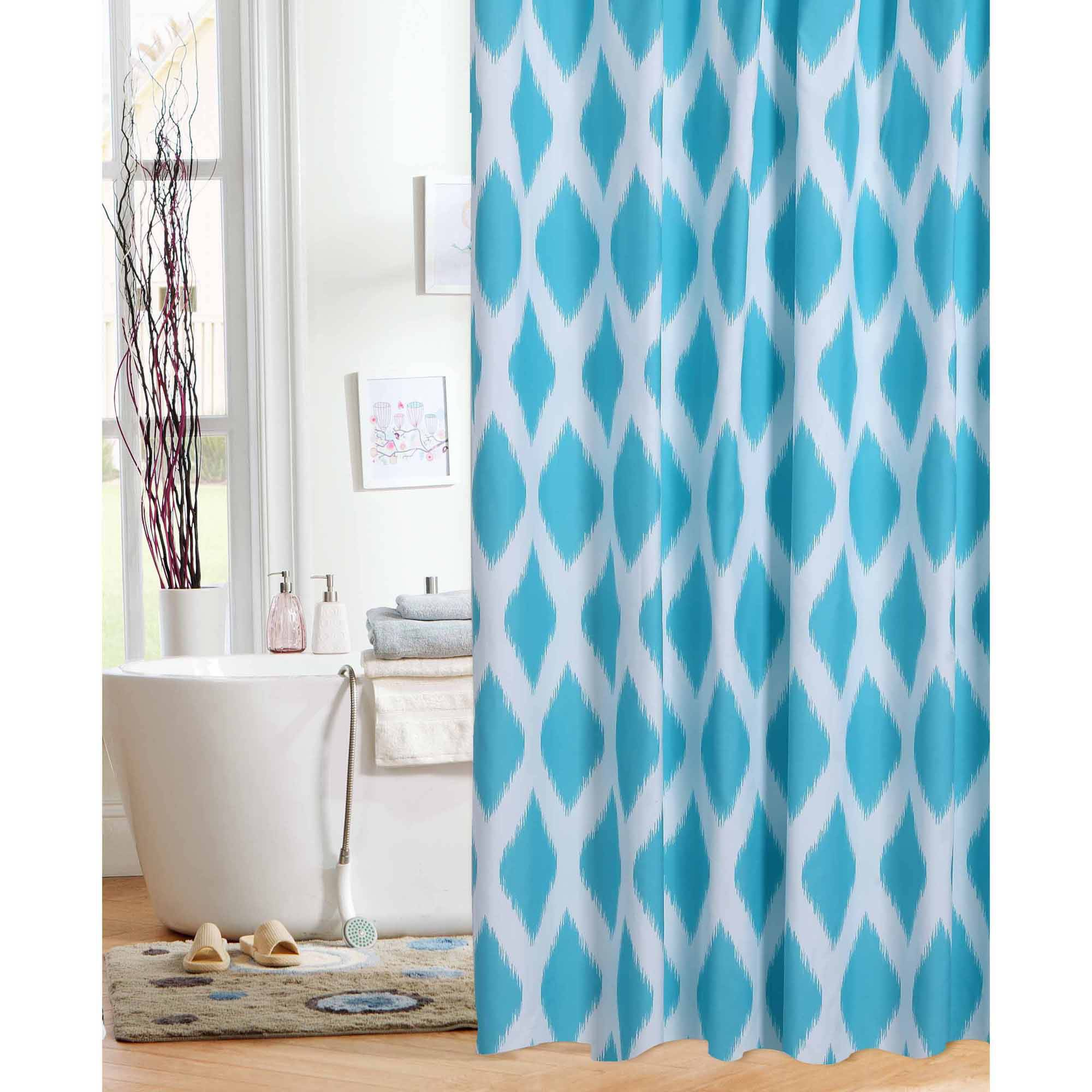 Mainstays Diamond Ikat Teal Shower Curtain