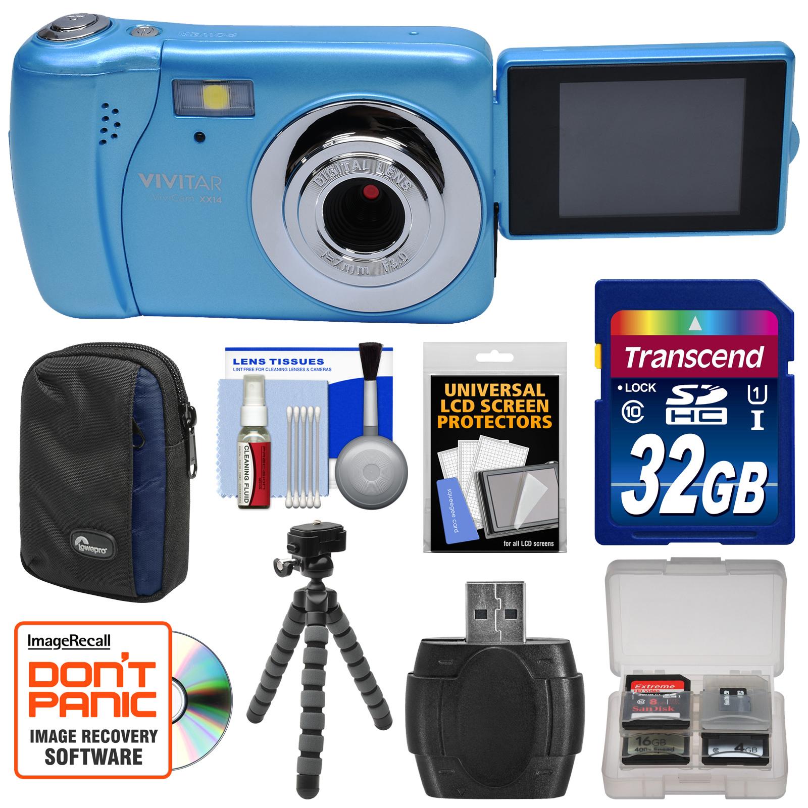 Vivitar ViviCam VXX14 Selfie Digital Camera (Blue) with 32GB Card + Case + Flex Tripod + Reader + Kit by Vivitar