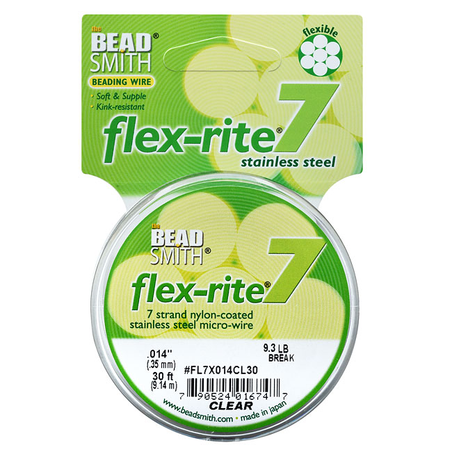 """BeadSmith Flex-Rite Beading Wire, 7 Strand .014"""" Thick, 30 Foot Spool, Clear"""