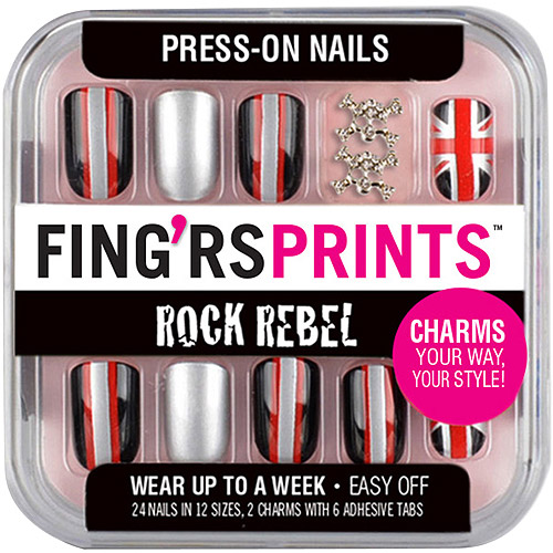 Fing'rs Prints Rock Rebel Press-On Nails, Late Night, 26 count