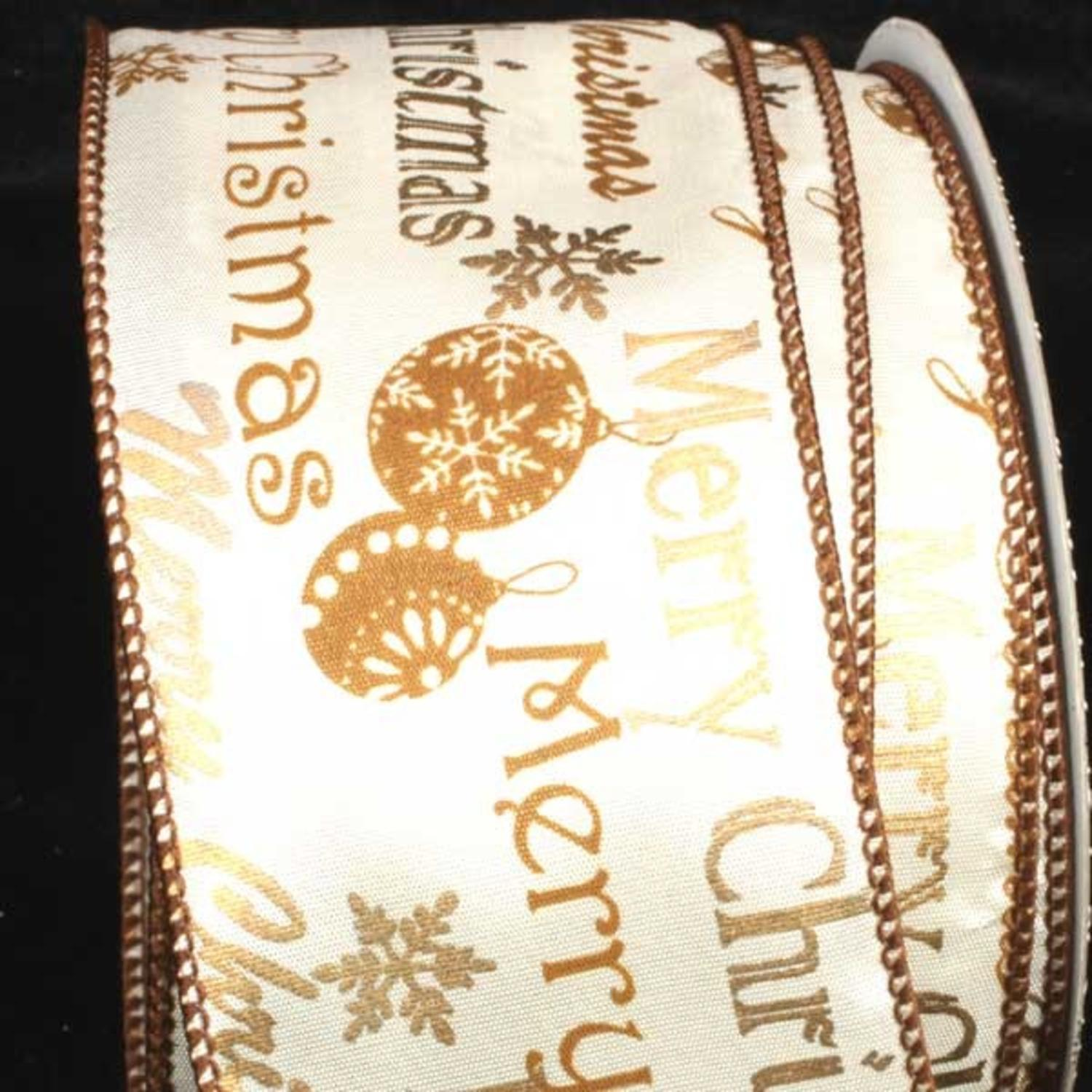 """Merry Christmas Printed Gold and White Wired Craft Ribbon 2.5"""" x 40 Yards"""