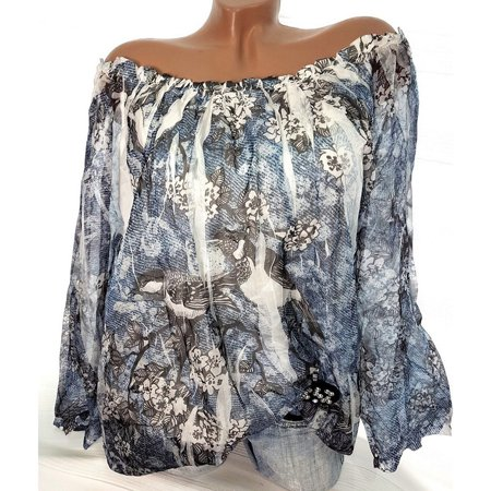 Women Floral Print Blouse Off the Shoulder Sheer Long Sleeve Loose Plus Size Top Tee Shirt