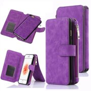 iPhone SE Case, iPhone 5S Wallet Case, 12 Card Holder, Zipper Cash Change Slot, PU Leather Cover With Detachable Magnetic Hard Phone Case - Purple