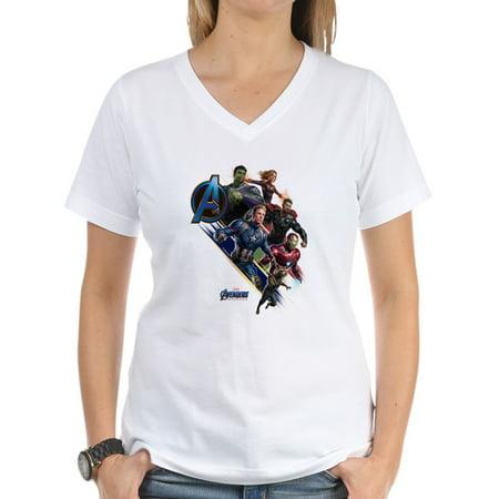 CafePress - Avengers Endgame Characters Women's V Neck T Shirt - Womens Cotton V-Neck T-shirt - Women Avengers