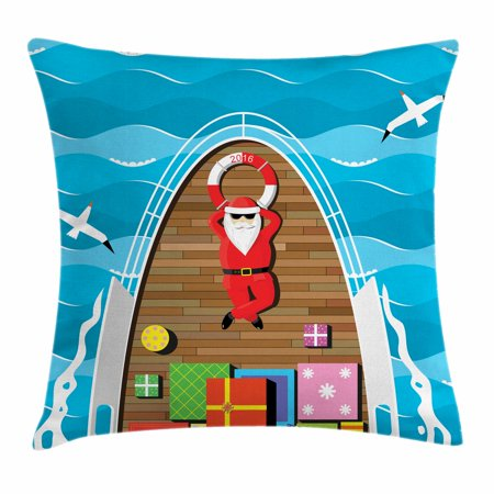 Santa Throw Pillow Cushion Cover, Father Christmas Lying on the Deck of a Yacht at Sea Carrier of Surprise Presents, Decorative Square Accent Pillow Case, 24 X 24 Inches, Multicolor,