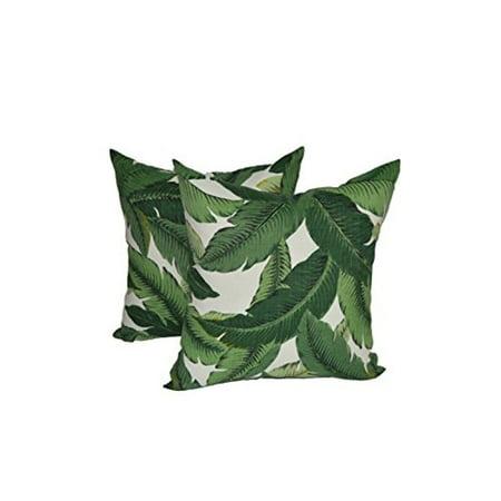 "Set of 2 Throw / Toss Pillows - 17"" - Green Tropical Palm Leaf - 17"" x 17"""