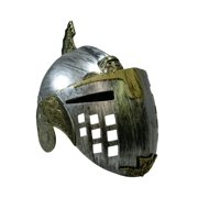 Roman Gladiator Costume Helmet with Flip Up Face Mask, Gold Pewter, One Size