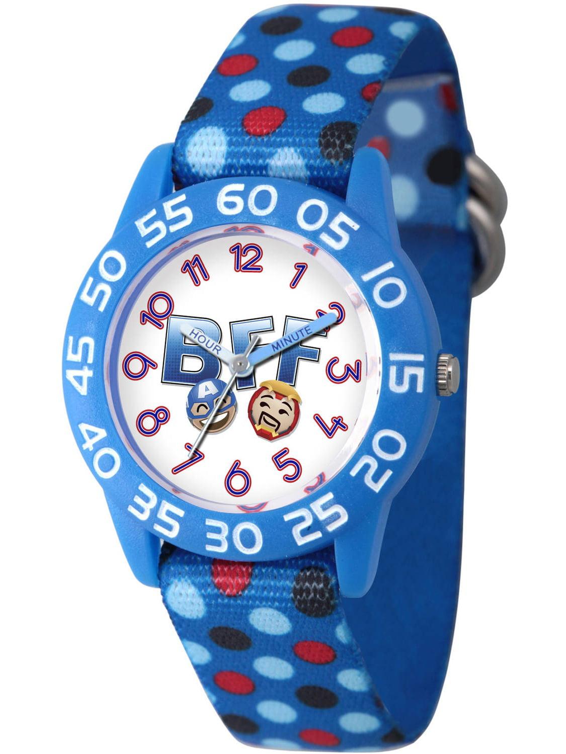 Emoji Kids' Iron Man and Captain America Blue Plastic Time Teacher Watch, Blue Nylon Strap with Polka Dot Printing