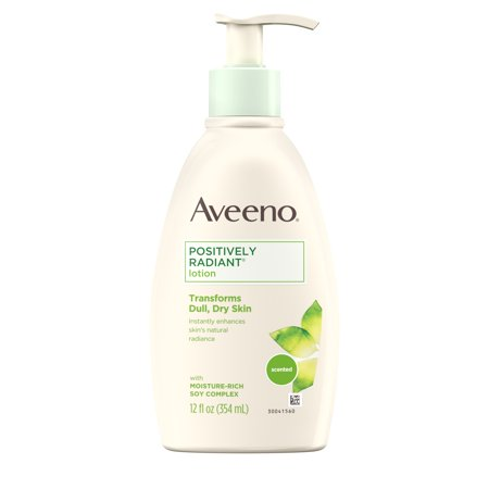 Sandalwood Moisturizing Body Lotion (Aveeno Positively Radiant Daily Moisturizing Body Lotion with Moisture-Rich Soy Complex, Skin Brightening & Nourishing Hypoallergenic Lotion for Everyday Dry Skin Care, 12 fl. oz)
