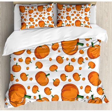 Harvest Duvet Cover Set, Halloween Inspired Pattern Vivid Cartoon Style Plump Pumpkins Vegetable, Decorative Bedding Set with Pillow Shams, Orange Green White, by Ambesonne