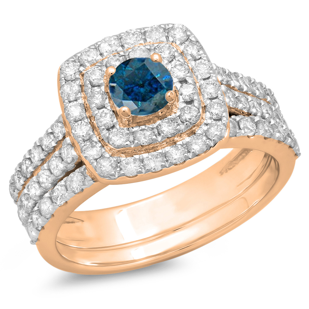 1.50 Carat (ctw) 10K Rose Gold Round Blue & White Diamond Ladies Halo Style Bridal Engagement Ring Matching Band Set 1 1