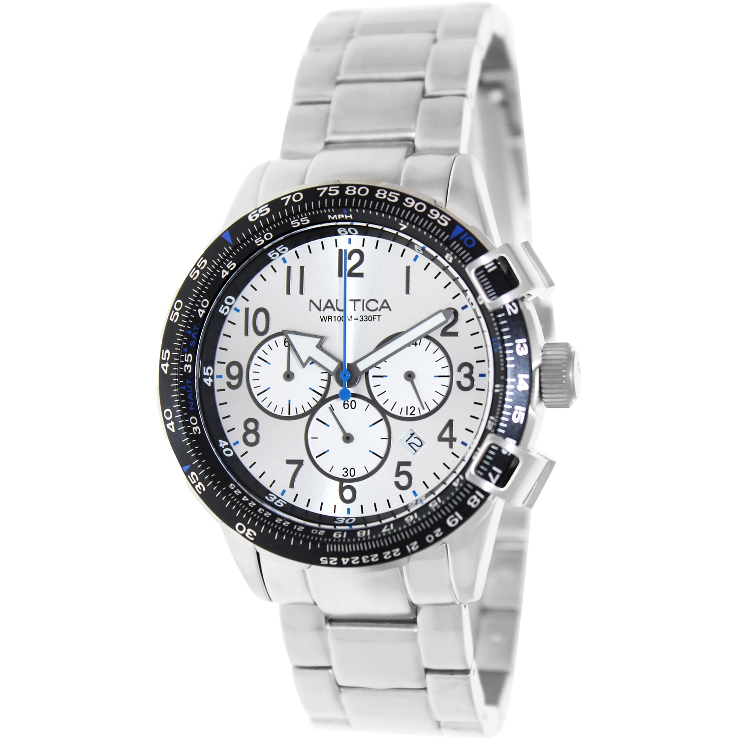 Nautica Men's Bfc 44 A24006G Silver Stainless-Steel Quartz Watch