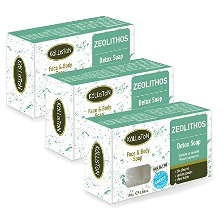 Kalliston | ORGANIC OLIVE OIL & ZEOLITHOS DETOX SOAP | Detox Face & Body Olive Oil Soap | All Natural Soaps | Made in Ancient Crete, Greece | 110g Each | Pack of 3