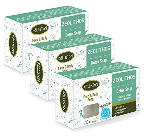 Kalliston | ORGANIC OLIVE OIL & ZEOLITHOS DETOX SOAP | Detox Face & Body Olive Oil Soap | All Natural Soaps | Made in Ancient Crete, Greece | 110g Each | Pack of 3