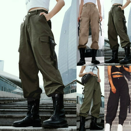 Pudcoco Women Straight Cargo Pants Ladies Girls Outdoor Sport Army Multi-Pocket Trousers ()