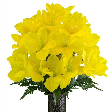 Yellow Amaryllis, Artificial Bouquet, featuring the Stay-In-The-Vase Design(c) Flower Holder (MD2083)