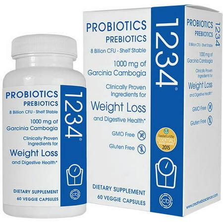 Probiotics Prebiotics 1234 Dietary Supplement Veggie Capsules  60 Count