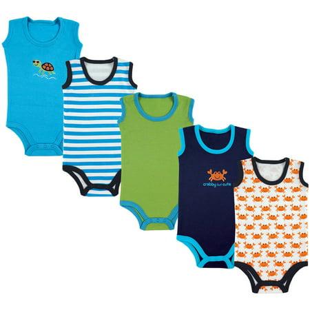 Baby Boy Sleeveless Bodysuits, (5 Pack Bodysuits)