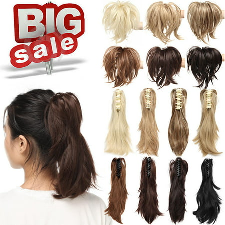 """S-noilite Messy Bendable Claw on Ponytail Hairpiece Clip in Jaw with 3 Bendable Metals Synthetic Straight Fluffy Hair Extension Updo braids Dark brown-12"""",95g"""
