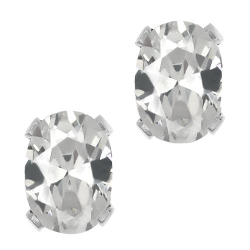 1.40 Ct Stunning Oval White Quartz Silver Plated Stud Earrings 7x5mm