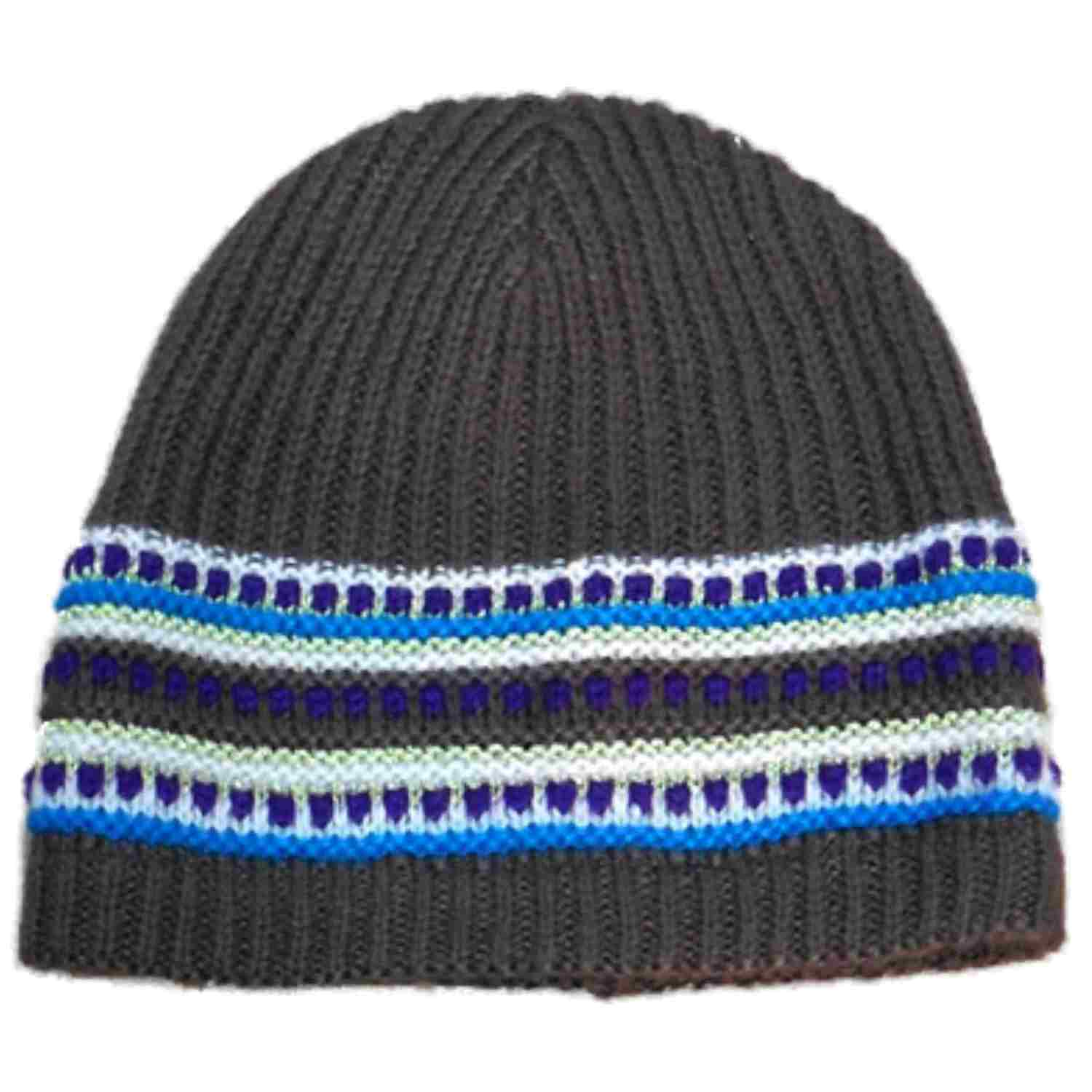 Fownes Womens Brown & Blue Stripe Knit Beanie Stocking Cap Hat