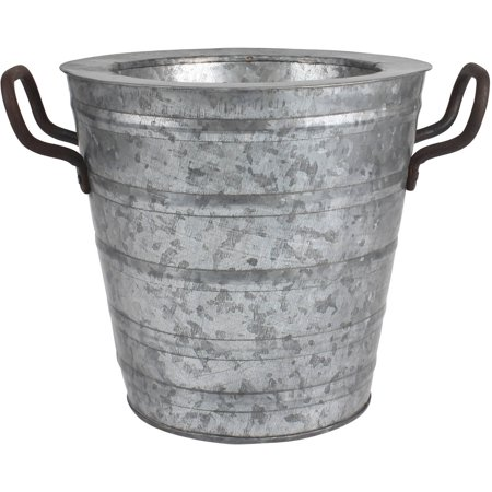 Aged galvanized ice bucket with rust metal handles for Galvanized well bucket