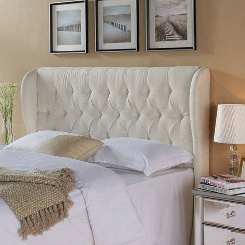 better homes and gardens scalloped wingback tufted upholstered headboard kingcal sand