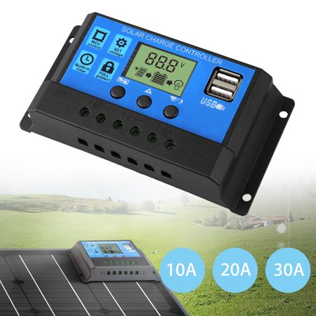 12V/24V LCD Display 10A/20A/30A Solar Charger Controller, Solar Panel Battery Intelligent Regulator, USB Port for Home Industrial Commercial Solar Panel Controller