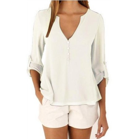 Plus Size Women V Neck Solid Chiffon Blouse Sexy Lady Long Sleeve Shirts Tops