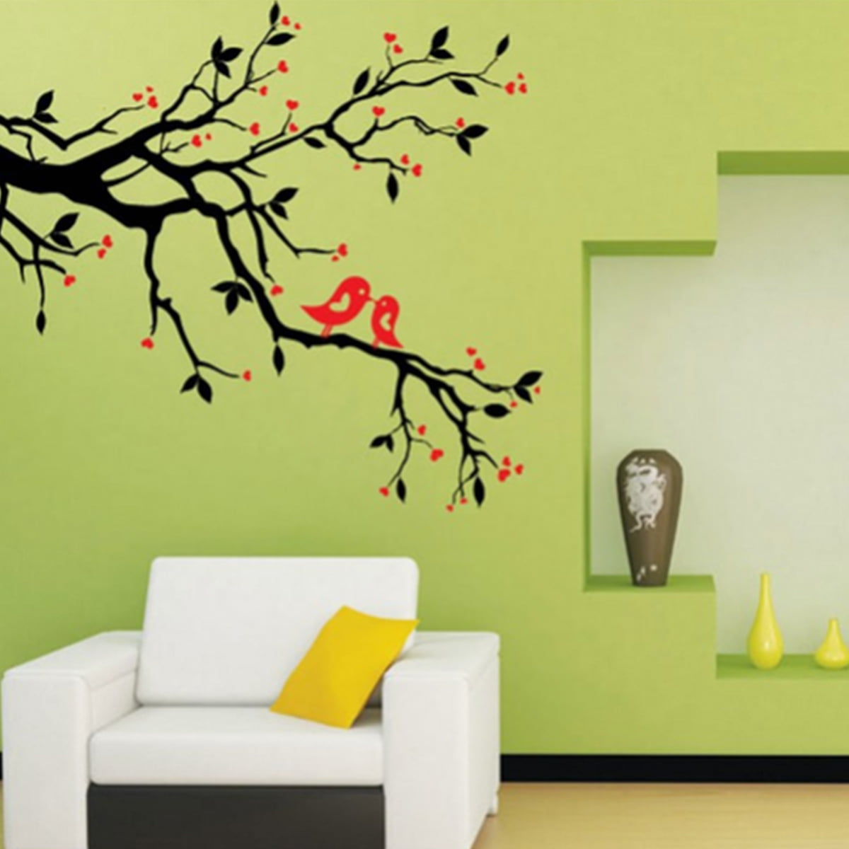 50x70cm Wall Sticker Love Heart Tree Bird Removable Vinyl Wall Decal