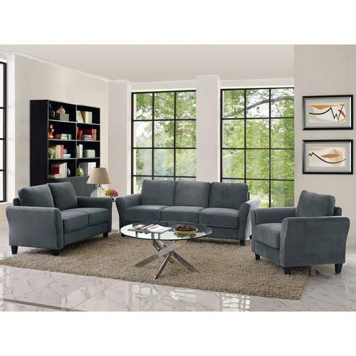 Alexa Rolled-Arm Sofa, Dark Grey