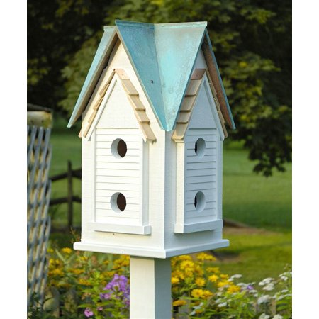 Victorian Mansion Bird House W White Verdi Copper Roof
