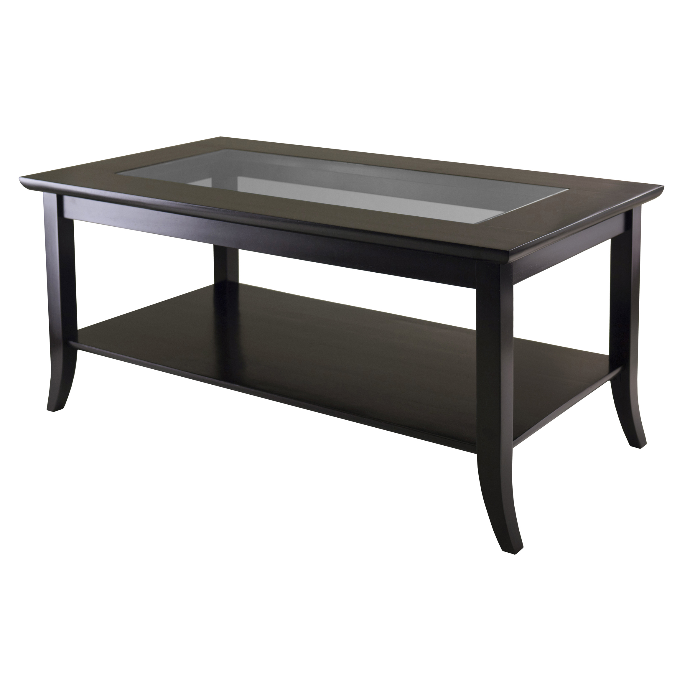 Winsome Wood Genoa Coffee Glass Top Table, Espresso Finish:
