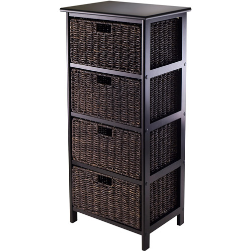 Omaha Storage Rack with 4 Foldable Baskets, Dark Espresso/Chocolate