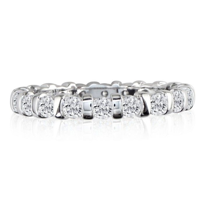 Platinum 2ct Rounded Bar Set Diamond Eternity Band, H-I | SI1-SI2, 4-9.5 by