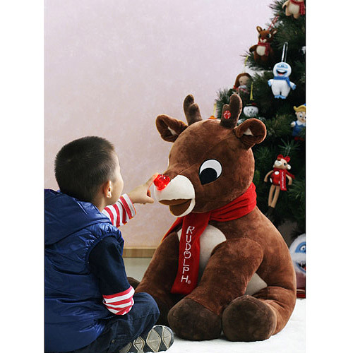 """Rudolph's 35"""" Plush Rudolph The Red-Nosed Reindeer with Light-Up Nose"""
