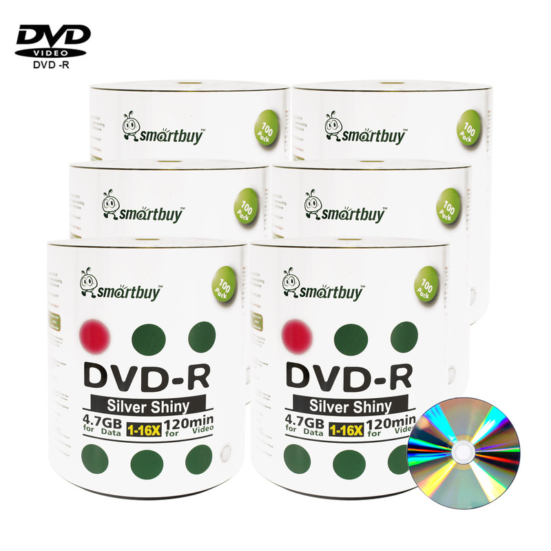 600 Pack Smartbuy 16X DVD-R 4.7GB 120Min Shiny Silver (Non-Printable) Data Blank Media Recordable Disc