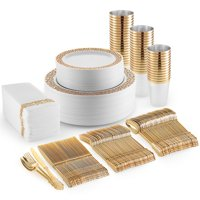350 Piece Plastic Dinnerware Set Include Plastic Dinner Plates, Side Plates, Cups Cutlery and Napkins,Fancy Disposable Tableware-Gold
