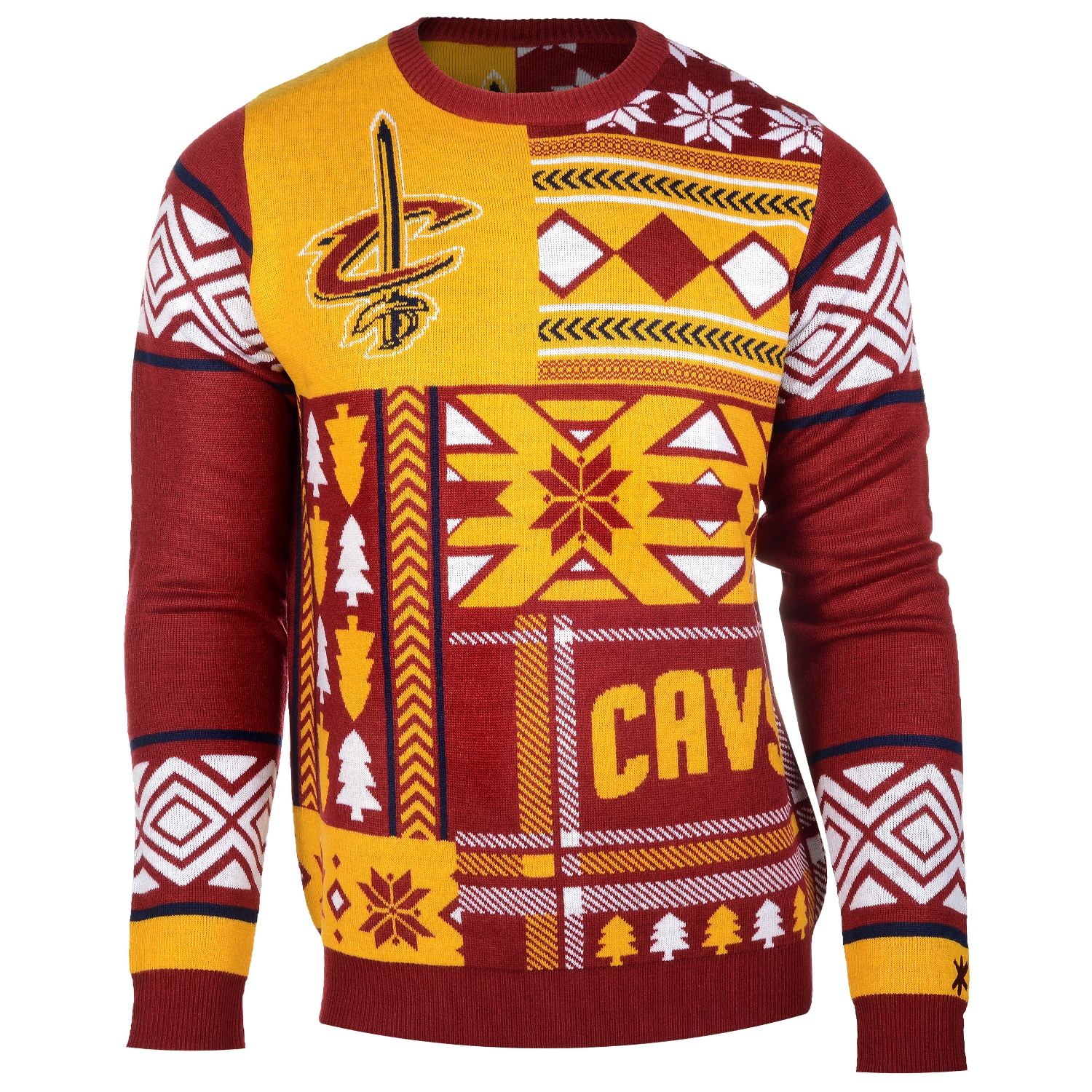 "Cleveland Cavaliers Men's NBA ""Patches"" Ugly Sweater"