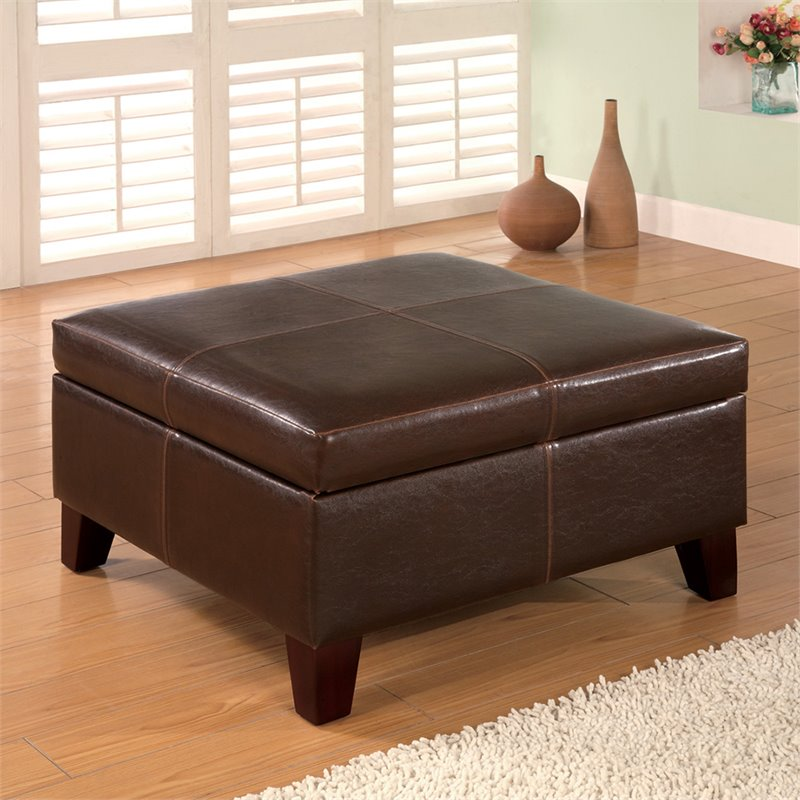Bowery Hill Faux Leather Square Coffee Table Ottoman In Dark Brown Walmart Com Walmart Com