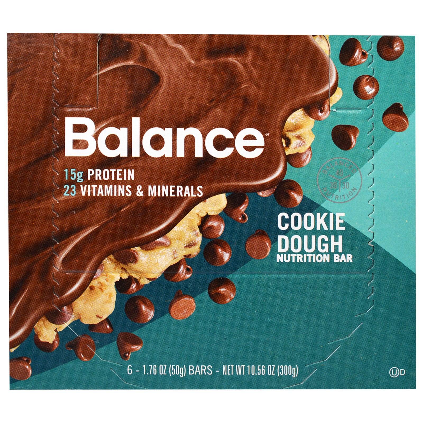 Balance Bar, Nutrition Bar, Cookie Dough, 6 Bars, 1.76 oz (50 g) Each(pack of 12) by
