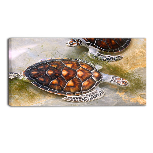 Design Art Sea Turtles in Nursery Animal Painting Print on Wrapped Canvas