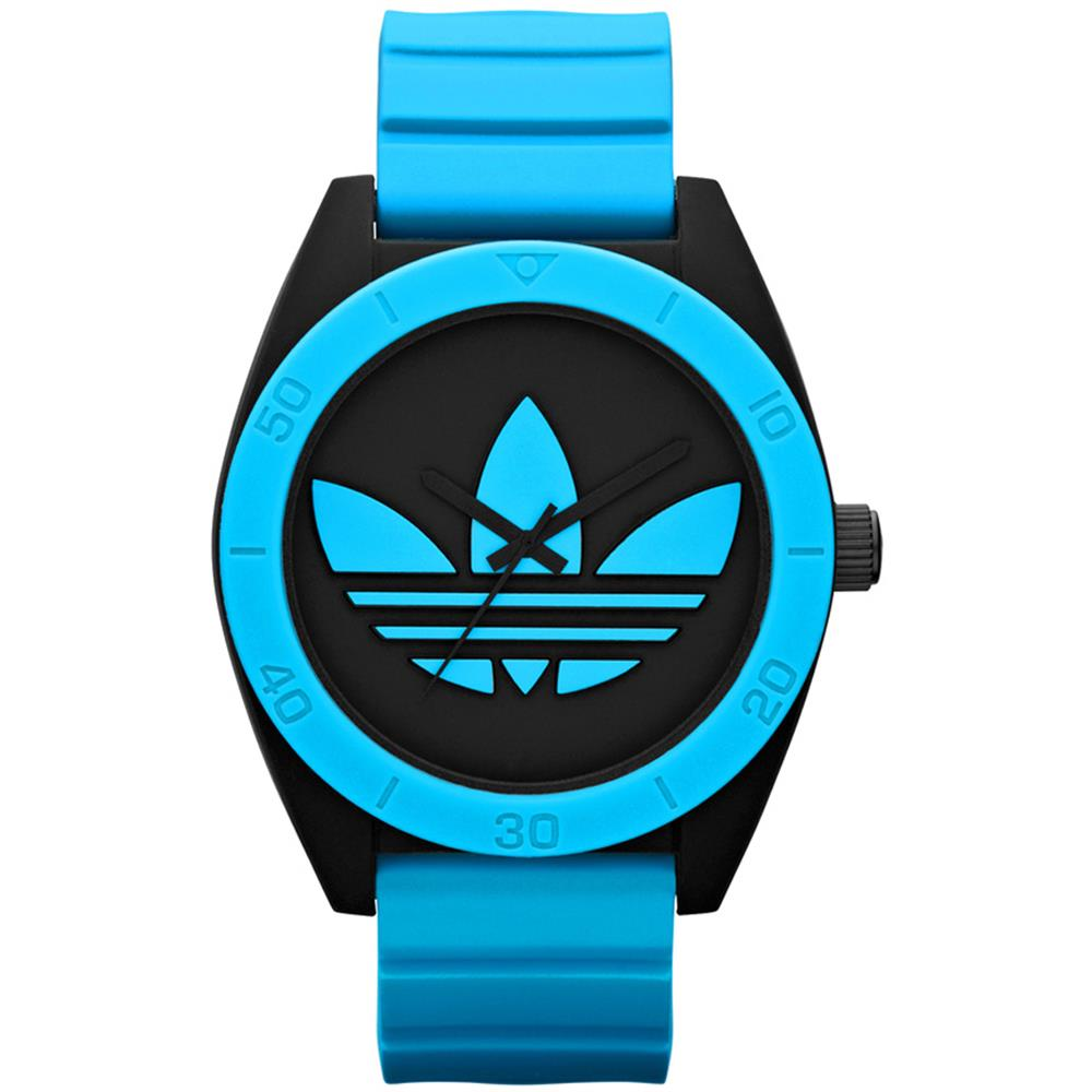 Adidas Men's 50mm Blue Rubber Band Steel Case Quartz Blac...