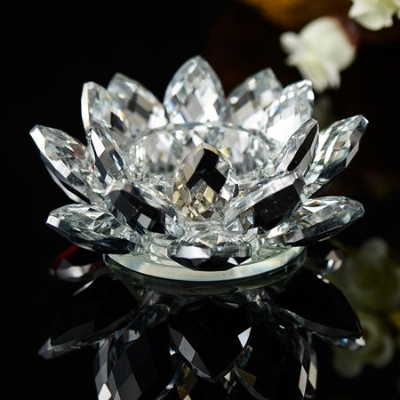 7 Colors Crystal Glass Lotus Flower Candle Tea Light Holder Buddhist Candlestick ()
