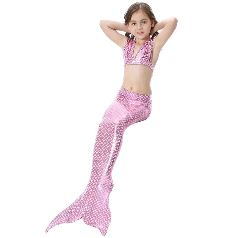 Qiilu Mermaid Tail Swimsuit Girls Swimming Costume Bikini Set