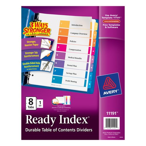 Avery 8-Tab Ready Index Dividers, 8.5 x 11, 1 Set
