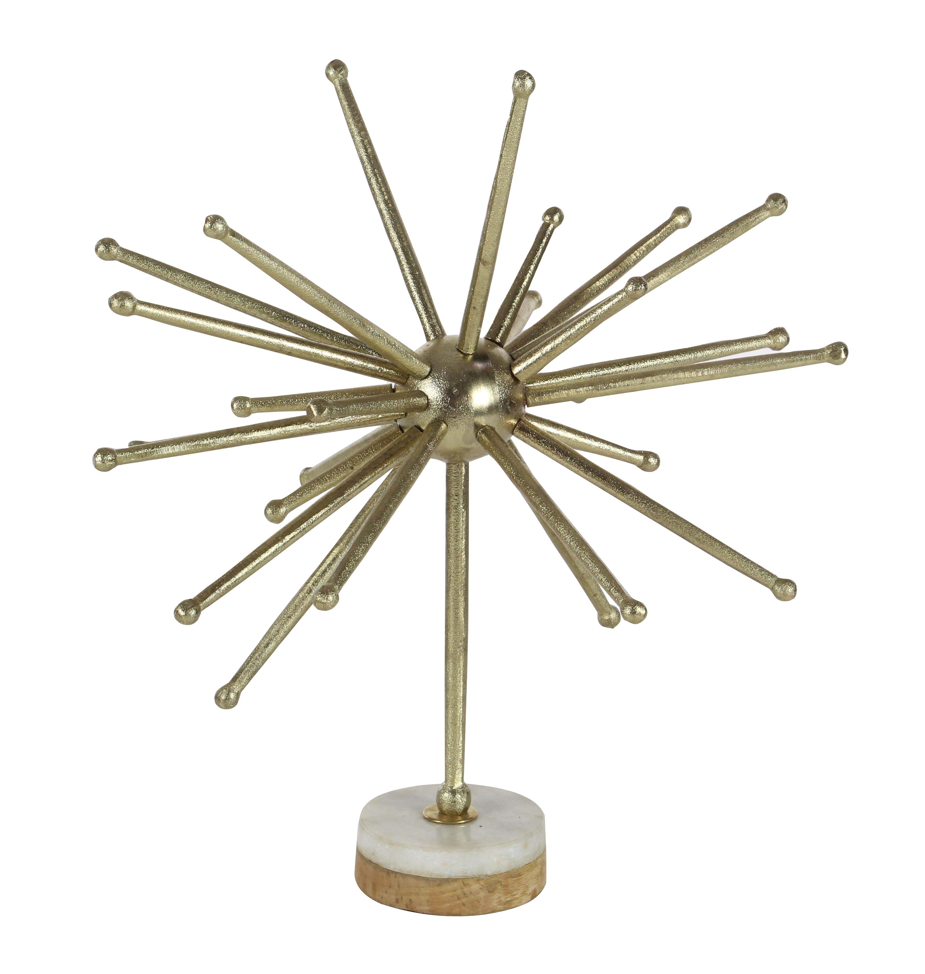 Decmode Modern 21 Inch Aluminum, Mango Wood, And Marble Gold Starburst Sculpture