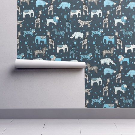 Removable Water Activated Wallpaper Safari Animals Nursery Jungle Zoo