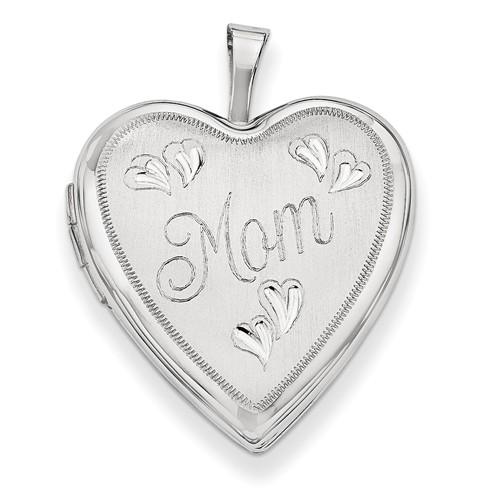 14K 0.8IN White Gold Mom w/ Hearts Heart Locket (0.9IN x 0.7IN )